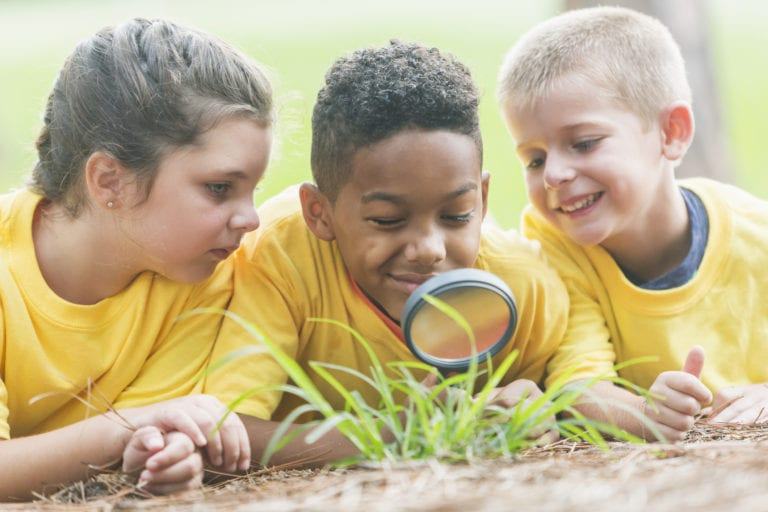 Three children exploring nature with a magnifying glass