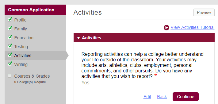 Common App Activities Section