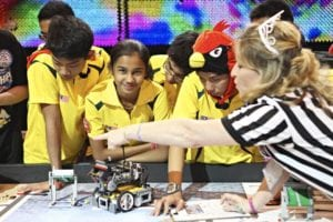 FIRST LEGO League students