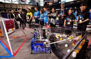 Students controlling their robot at a FIRST Tech Challenge competition